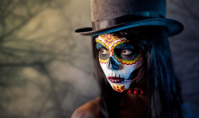 Sugar Skull Girl In Top Hat