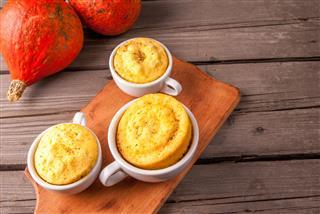 Pumpkin Mug Cakes In Rustic Style