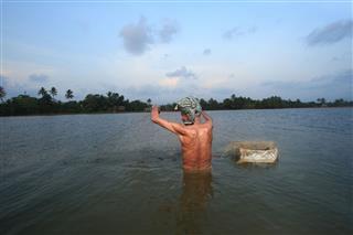 Villager Uses Fishing Net