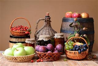 Fresh Fruit Jam And Wooden Barrel