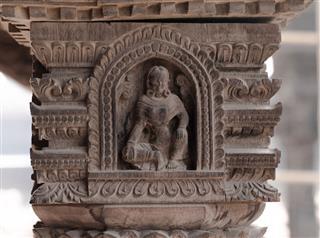 Ancient Goddess Carved Wooden Pillar