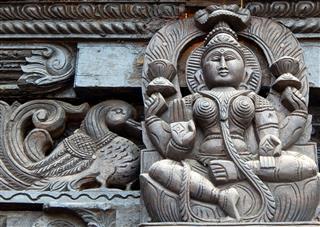 Wooden Carving Of Hindu Goddess