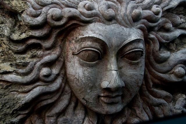 Sun Or Hindu Wood Carving