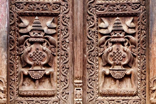 Wooden Carved Door Detail