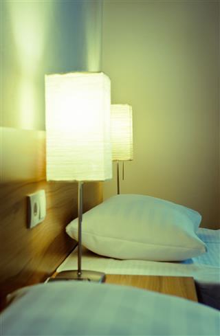 Closeup Of Elegant Hotels Beds