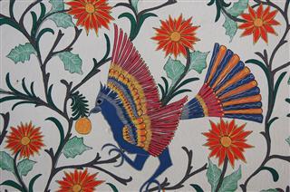 Bird Flowers Piece Of Mural