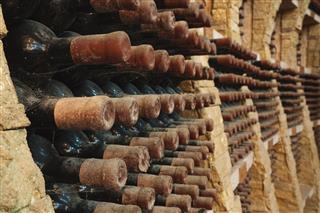 Wine Bottles From Vineyard Cellar