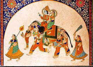 Old Fresco With Krishna And Radha