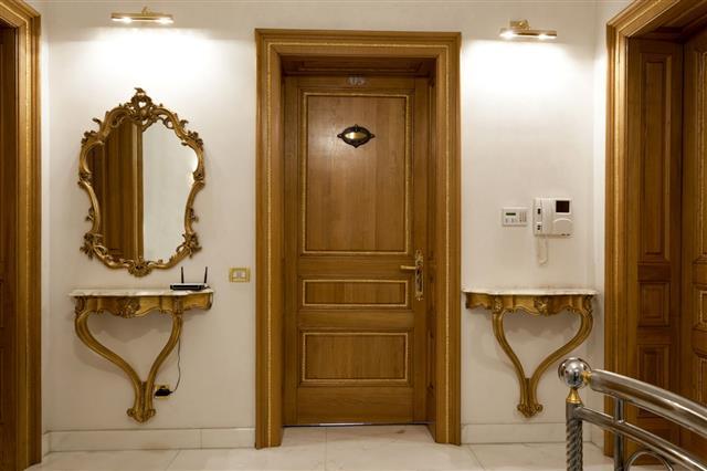 Luxury Hotel Corridor With Antique Mirror