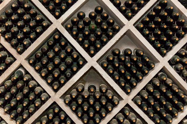 Racks Of Wine Bottles