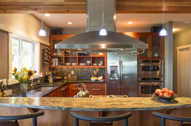 Kitchen Interior With Granite Countertops