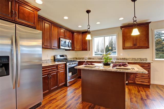 Kitchen With Hardwood Floor