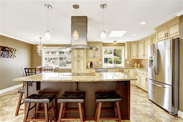 Kitchen Interior In Light Beige Color