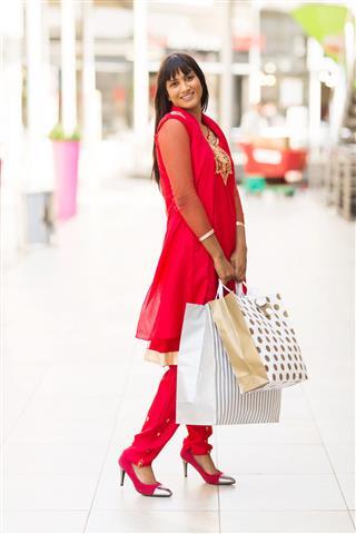 Indian Girl In Shopping Center