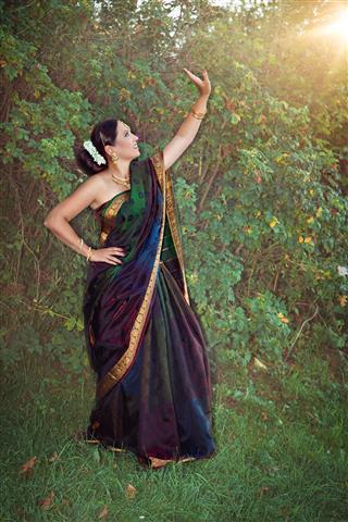 Beautiful Woman In Sari Dancing