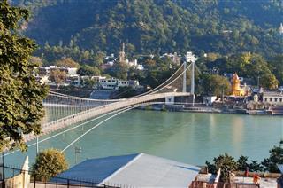 River Ganga And Ram Jhula Bridge