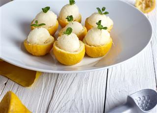 Ice Cream Inside Fresh Lemons