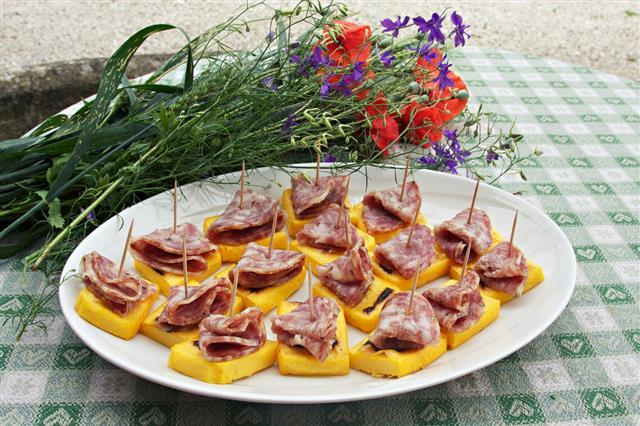 Grilled Polenta With Salami