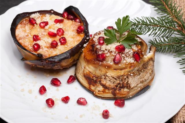 Eggplant Zuccotto Christmas