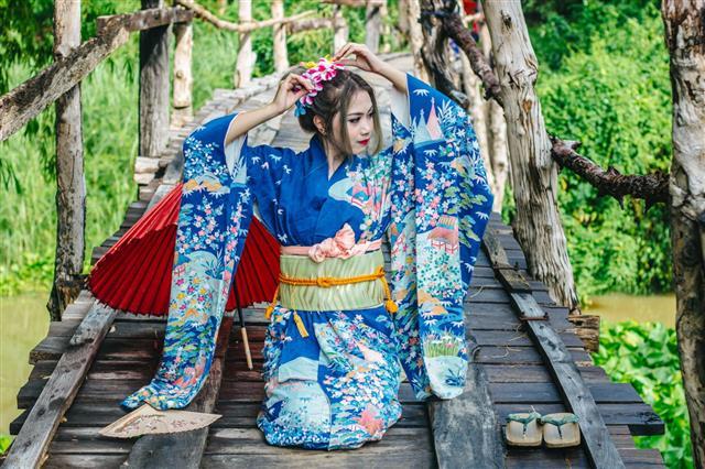 Portrait Of Japanese Kimono Woman
