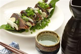 Sake And Lightly Roasted Bonito Sashimi