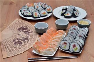 Maki Sushi Rolls And Nigiri Sushi