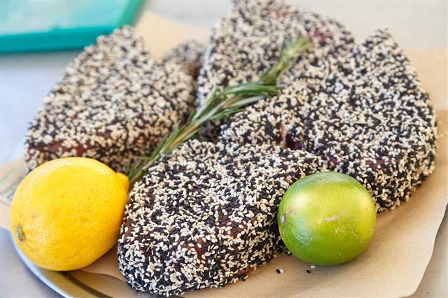 Steaks Of Tuna In Sesame