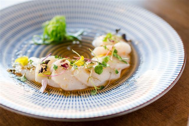 Raw Scallops Sashimi Seafood Dish