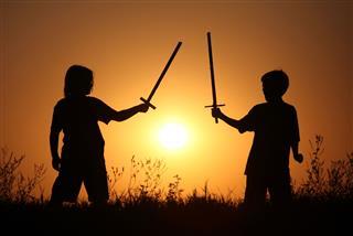 Children With Fantasy Swords
