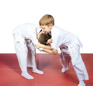 Children Training Judo Sparring