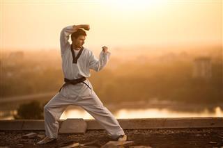 Black Belt Martial Artist Practicing