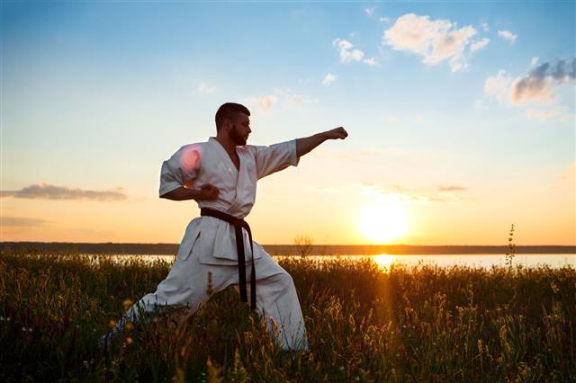 Man Practicing Karate