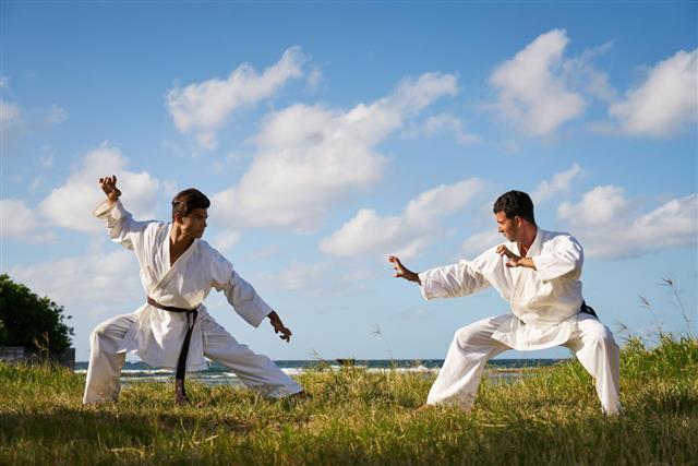 Men Fighting During Karate