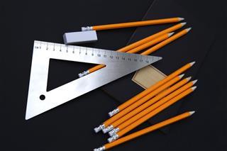 Notebook Black Pens Eraser Set Square