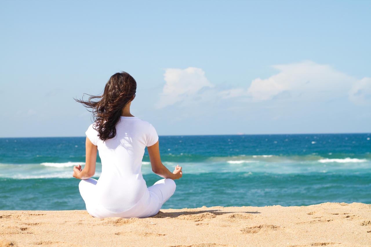 Yoga Meditation On Beach