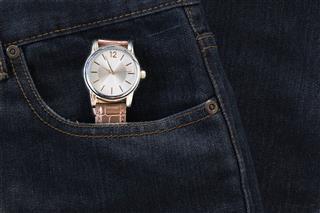 Wristwatch In Denim Jeans Pocket