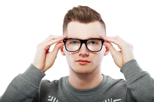 Portrait Holding Glasses