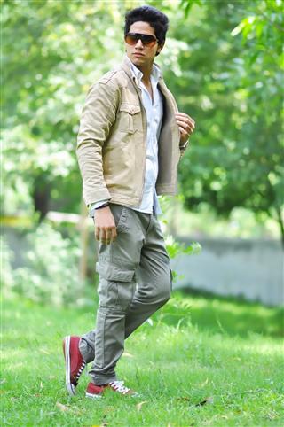 Model Walking In Park
