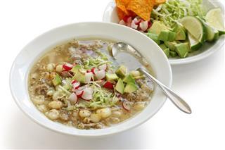White Pozole Mexican Soup Cuisine