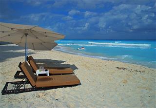Beach Chairs In Cancun Mexico