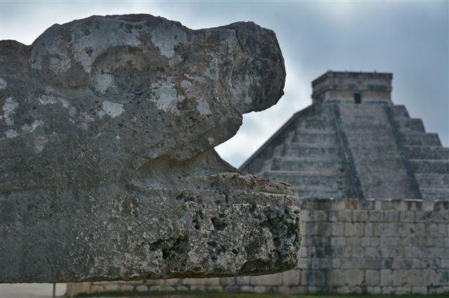 Mayan Pyramid With Sacred Snake