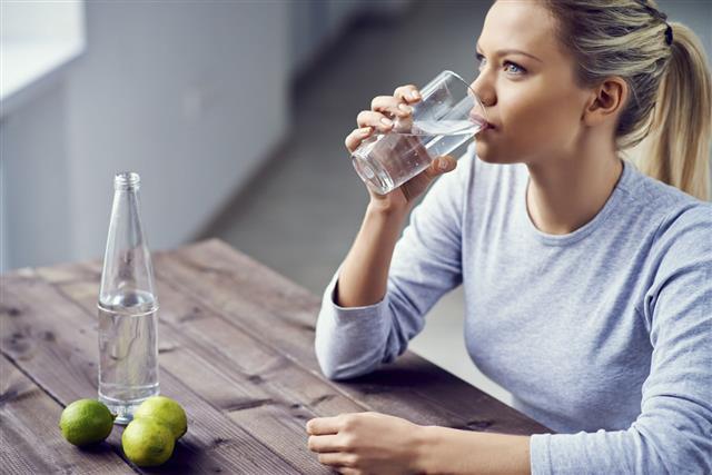 women drinking water
