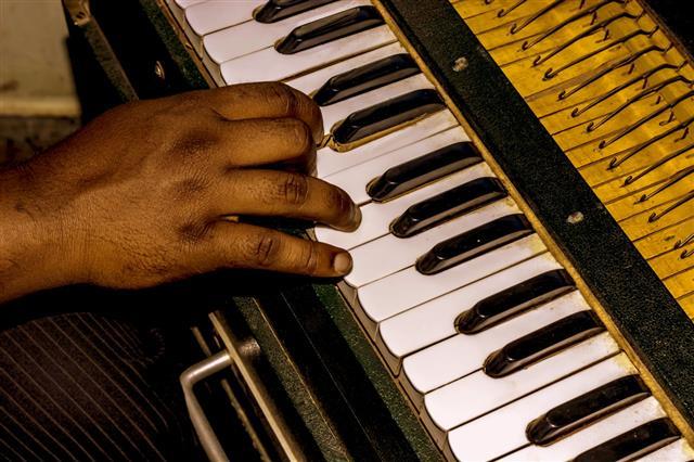 Musician Playing Harmonium