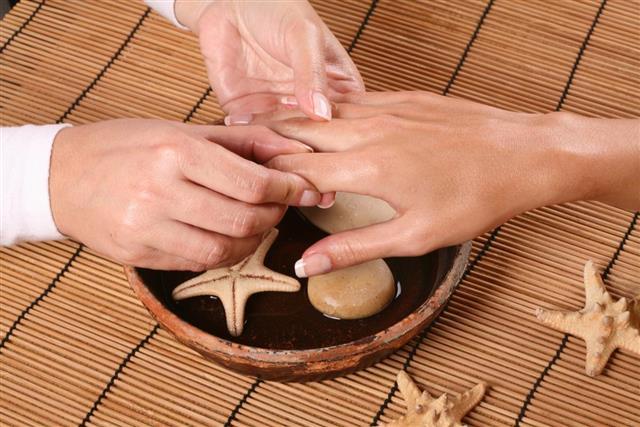 Hand massage with moisturizer