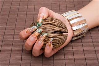 Human hand with nail art