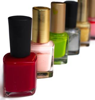 Colorful bottles of nail polish