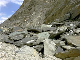 Landslides From Mountains In Himalaya