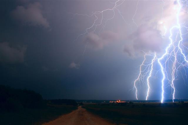 Lightning Over The Field