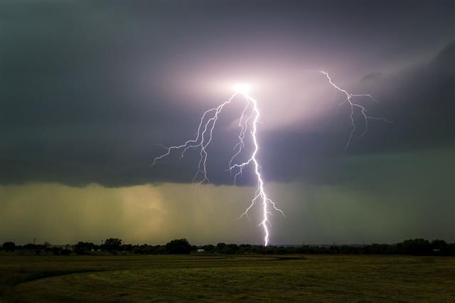 Strange Light Behind Lightning Strike