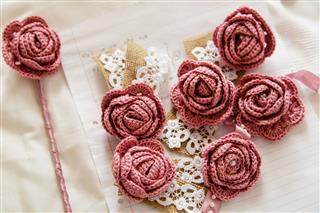 Pink Crochet Roses